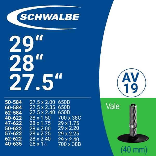 """SCHWABLE TUBE 29"""" AV19 (40mm)"""